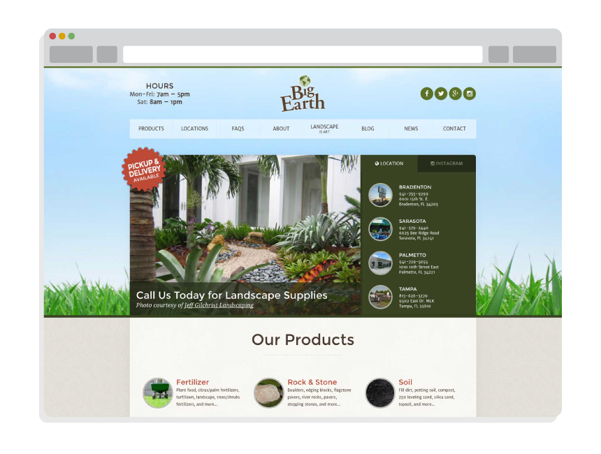 website design and maintenance for Big Earth