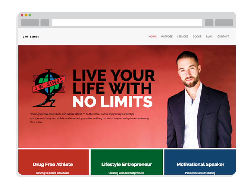 personal website design for Jon Simos