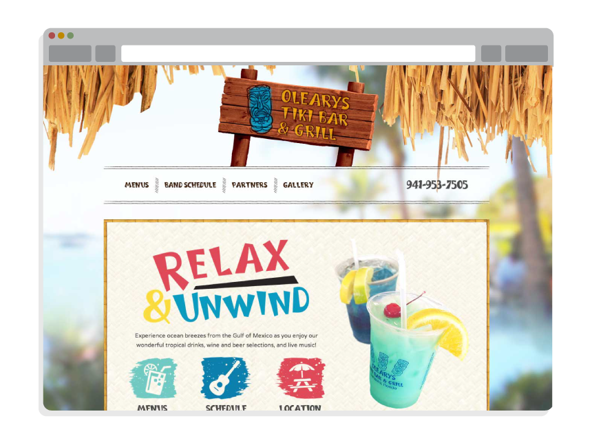 restaurant website design for Oleary's Tiki Bar
